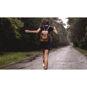 Beautifully Simple Tan Leather Backpack by Beara Beara