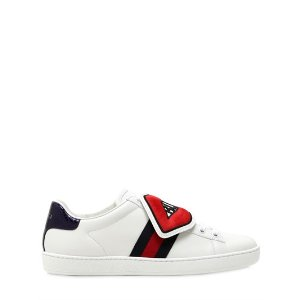 GUCCI - NEW ACE LEATHER SNEAKERS WITH PATCHES