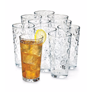 LivingQuarters 圆形纹路玻璃杯10件套 | Bon-Ton