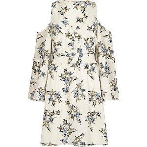 Cream floral cold shoulder puff sleeve dress - bardot / bandeau dresses - dresses - women