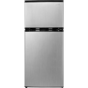 Insignia- 4.3 Cu. Ft. Compact Refrigerator - Stainless steel look
