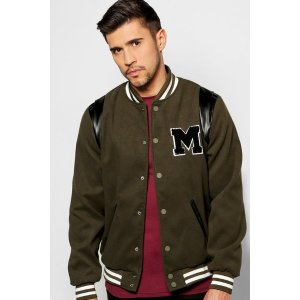 Melton Varsity Jacket With Chest Badge | Boohoo
