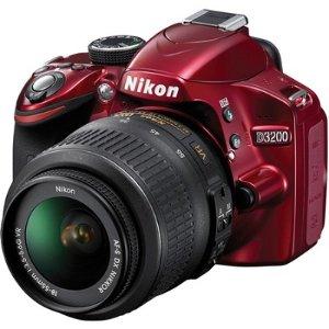 BuyDig.com - Nikon Refurbished D3200 24.2 MP 1080P D-SLR Camera with 18-55mm VR Zoom Lens (Red)