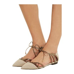 Hime cutout canvas and mirrored-leather point-toe flats | Jimmy Choo