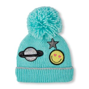 Girls Embellished Patch Pom Pom Beanie | The Children's Place