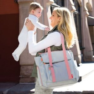Skip*Hop® FIT All-Access Diaper Tote in Platinum/Coral - buybuy BABY
