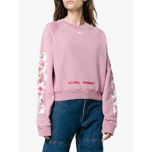 Off-WhitePink Floral Global Warming 卫衣