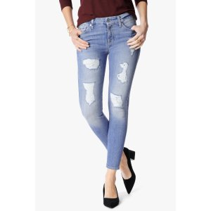 The Ankle Skinny Jeans With Destroy in Light Blue - 7FORALLMANKIND