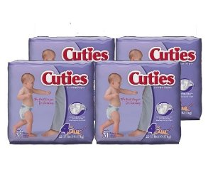 $8.37 Cuties Baby Diapers, Size 4, 31-Count, Pack of 4