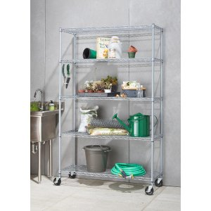 Trinity 5-Tier Outdoor Wire 48 in. x 18 in. x 72 in. Shelving Rack with Wheels in Gray-TBF-PS664 - The Home Depot