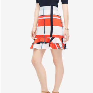 Picnic Striped Flounce Skirt | Ann Taylor