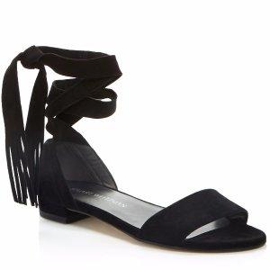 Stuart Weitzman Corbata Fringe Lace Up Sandals | Bloomingdale's