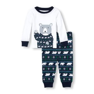 Baby And Toddler Boys Long Sleeve Bear Fair Isle Print Top And Pants PJ Set | The Children's Place