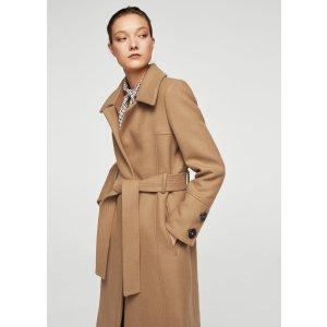 Belted wool coat - Women | MANGO USA