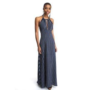 Abbeline Striped Halter Maxi Dress   South Moon Under