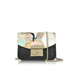 Furla Black Metropolis Mini Crossbody Bag w/Detachable Magnolia Embroidery Flap at FORZIERI
