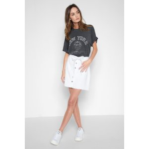 A-Line Skirt with Released Pockets in White - 7FORALLMANKIND