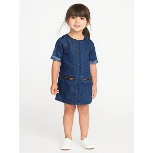 Denim Zip-Pocket Shift Dress for Toddler Girls
