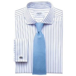 Slim fit spread collar non-iron stripe white and navy shirt | Charles Tyrwhitt