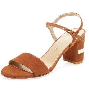 Stuart Weitzman Standby Two-Piece Leather Sandal