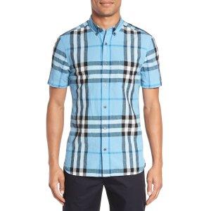 Burberry 'Elfords' Slim Fit Short Sleeve Check Linen & Cotton Sport Shirt