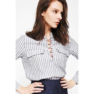 Striped Lace-Up Shirt SS0010