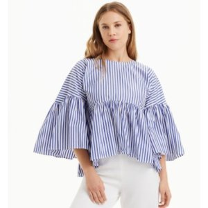 MDS Stripes Bell Sleeve Top