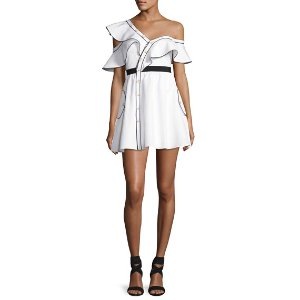 Self-Portrait Poplin Frill Asymmetric Mini Dress, White