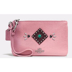 COACH: Small Wristlet In Polished Pebble Leather With Western Rivets