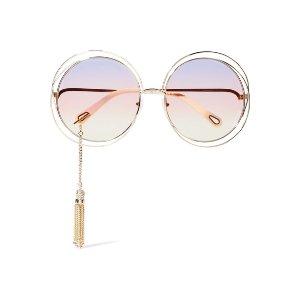 Chloé   EXCLUSIVE Carlina round-frame gold-tone sunglasses