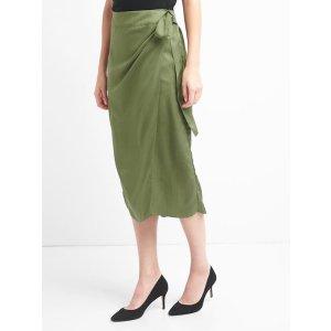 TENCEL™ wrap-belt midi skirt