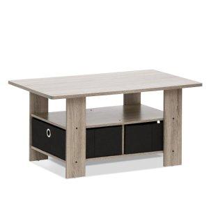 $18.97 FURINNO 11158GYW/BK Coffee Table with Bin Drawer, French Oak Grey/Black