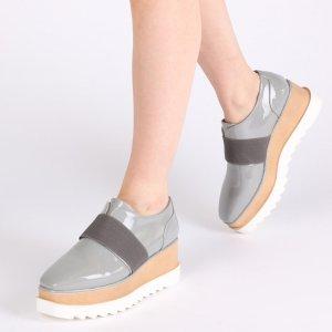 Kamila Stacked Flatform Elasticated Shoe in Grey Patent | Public Desire