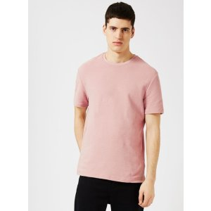Pink Ottoman Textured T-Shirt - View All Clearance - Clearance - TOPMAN USA