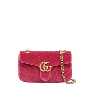 GUCCI - SMALL GG MARMONT 2.0 VELVET SHOULDER BAG
