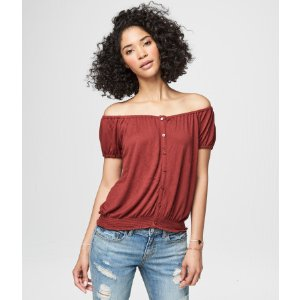 Ribbed Button-Front Peasant Top