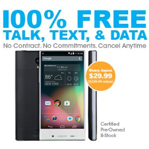 $29.99 + Free Shipping!Sharp Aquos Crystal LTE + FREE Unlimited Talk, Text, and 1GB per Month