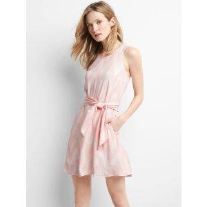 Print tie-belt fit and flare dress | Gap