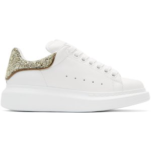 Alexander McQueen: White & Gold Glitter Oversized Sneakers | SSENSE