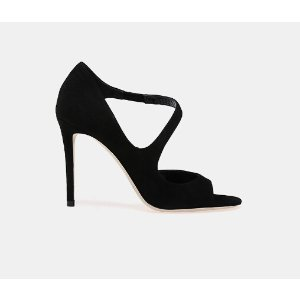 Jimmy Choo Dawes 100 Suede Open-Toe Sandal Pumps | ELEVTD Free Shipping & Returns
