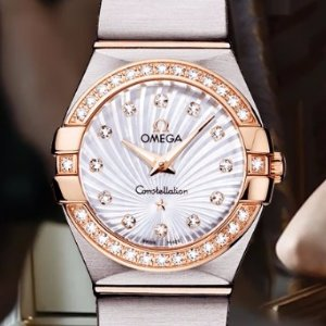 Extra $500 OffOMEGA Constellation Mother of Pearl Dial Steel and Gold Diamond Ladies Watches( 2 styles)