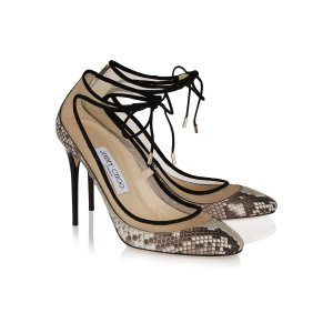 Tyler suede-trimmed python and mesh pumps | Jimmy Choo