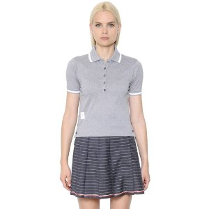 THOM BROWNE - COTTON PIQUÉ POLO SHIRT - POLOS - GREY