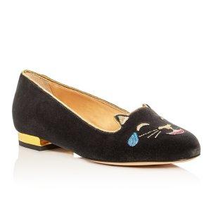 Charlotte Olympia 深灰色小猫鞋