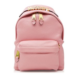 Leather Backpack with Gilded Logo Embellishment - Moschino | WOMEN | US STYLEBOP.COM