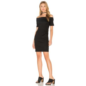 3x1 Off Shoulder Dress in Black Rinse   REVOLVE