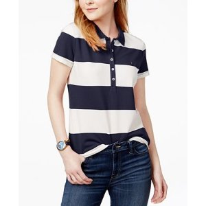 Tommy Hilfiger Rugby Striped Polo Shirt, Only at Macy's - Tops - Women - Macy's