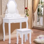 Giantex Vanity Wood Makeup Dressing Table Stool Set Bedroom with Mirror (Sector Mirror, 4 Drawers)