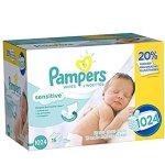 Pampers 敏感皮肤型婴儿湿巾, 1024张, 每片仅$0.019