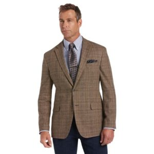 Joseph Abboud Tailored Fit Brown Plaid Sportcoat Big and Tall CLEARANCE